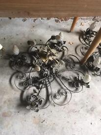 Vintage light fittings wrought iron and others £10 each