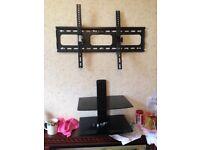 Tv tilt wall mount bracket with 2 shelfs