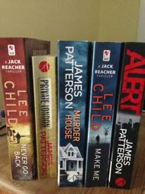 5 Books Lee Child James Patterson GC
