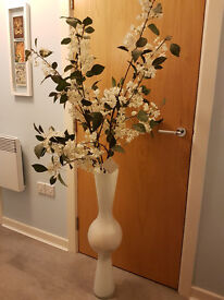 Habitat Store - Steep White Contemporary Vase with Floreo Articial Flower Stems 150cm