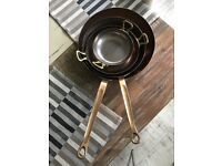 Vintage copper & brass pan set