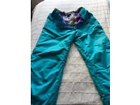 Bright turquoise ladies ski/snowboard pants, size 16