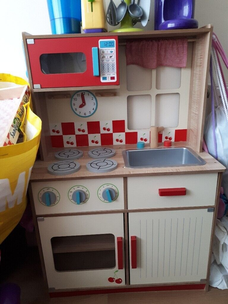 Childs Wooden Play Kitchen Lots Of