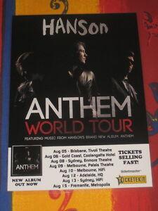 HANSON - 2014 ANTHEM AUSTRALIAN  TOUR  -  PROMO TOUR POSTER