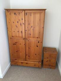 Pine Wardrobe and matching 3 drawer unit