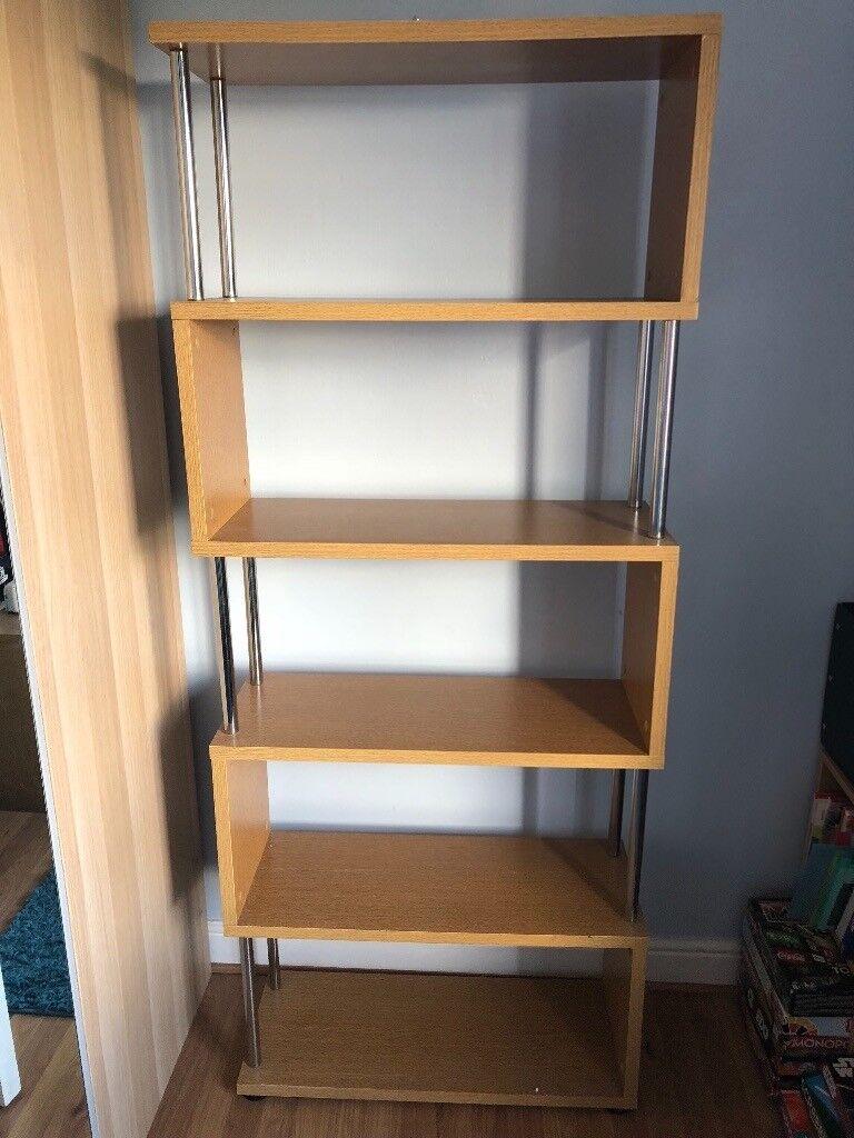 Oak And Chrome Bookshelf
