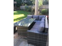 Grey rattan garden/patio corner sofa and dining table set (seats 6-8)