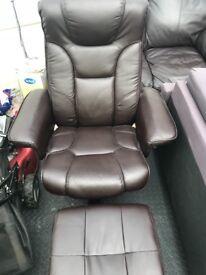 Brown Recliner Chair & Footstool