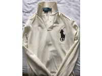 Men's big pony longsleeve Ralph Lauren shirt-slim fit size (S)-Cream coloured