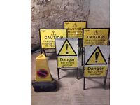 Window cleaning metal warning signs