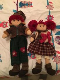 Two Urchin Children dolls