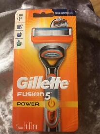 Gillette fusion5 Power razor, blade and battery brand new from smoke free and pet free.