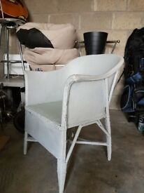 Painted Woven Tub Chair for Bedroom or Living/Kitchen. Shabby Chic.