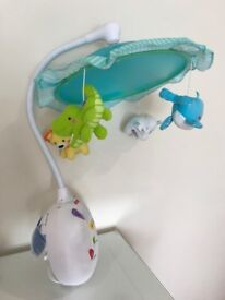 Fisher Price Cot Mobile with projector and removal umbrella arm to project to ceiling when older
