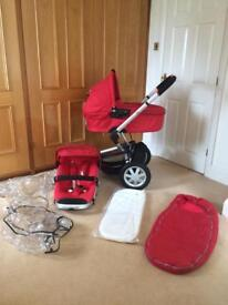 Quinny red buzz extra pram Pushchair 2 N 1 Travel System With Extras