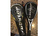2 Dunlop Squash Rackets and 2 Balls