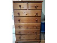Pine chest of drawers - 5 large, 2 small