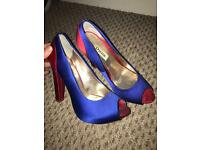 Dune red and blue stunning heels size 5