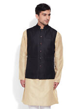 Very Me Men's Faux Silk Black Nehru Jacket(MFNJ1503)