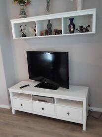 IKEA Hemnes white TV bench unit and bridging shelf, Excellent Condition