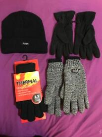 Brand new with tag thermal men's gloves and inside fleece cap