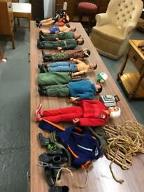 8 vintage action men dolls two with loose heads other than that good condition