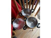 Set of 3 Steam stackable Pans