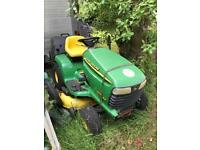 John Deere ride on lawnmower tractor mower with large grass box