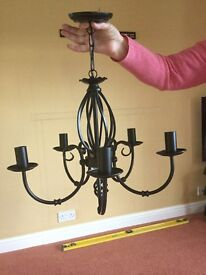 5 arm black Center light and two double arm wall lights