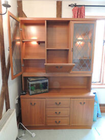 Display cabinet with lights behind shelves