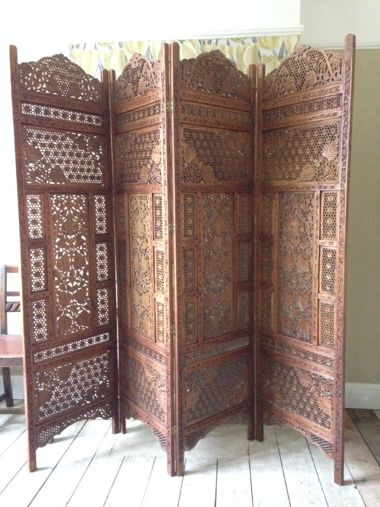Indian Ornate Hand Carved Wood Screen Decorative Panel Room Divider Head Board