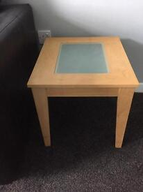 pair of beech glass topped tables