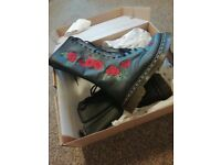 Womens DM boots size 5 black with red roses