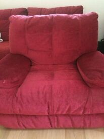 SOFOLOGY POWER RECLINER ARMCHAIR FROM SOFAWORKS. CLARET. WITH CARE KIT.