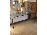 Glass console table and coffee table