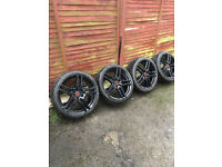 GENUINE HONDA CIVIC TYPE R 19' DIAMOND CUT RAGE HIGH GLOSS BLACK FN2 ALLOYS WHEELS + TYRES AS NEW