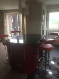 Red high gloss kitchen island with solid granite worktop worth ovee £800 alone,...