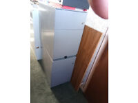 Two Slim Metal Filing Cabinets with Drawer Above - Good Working Condition