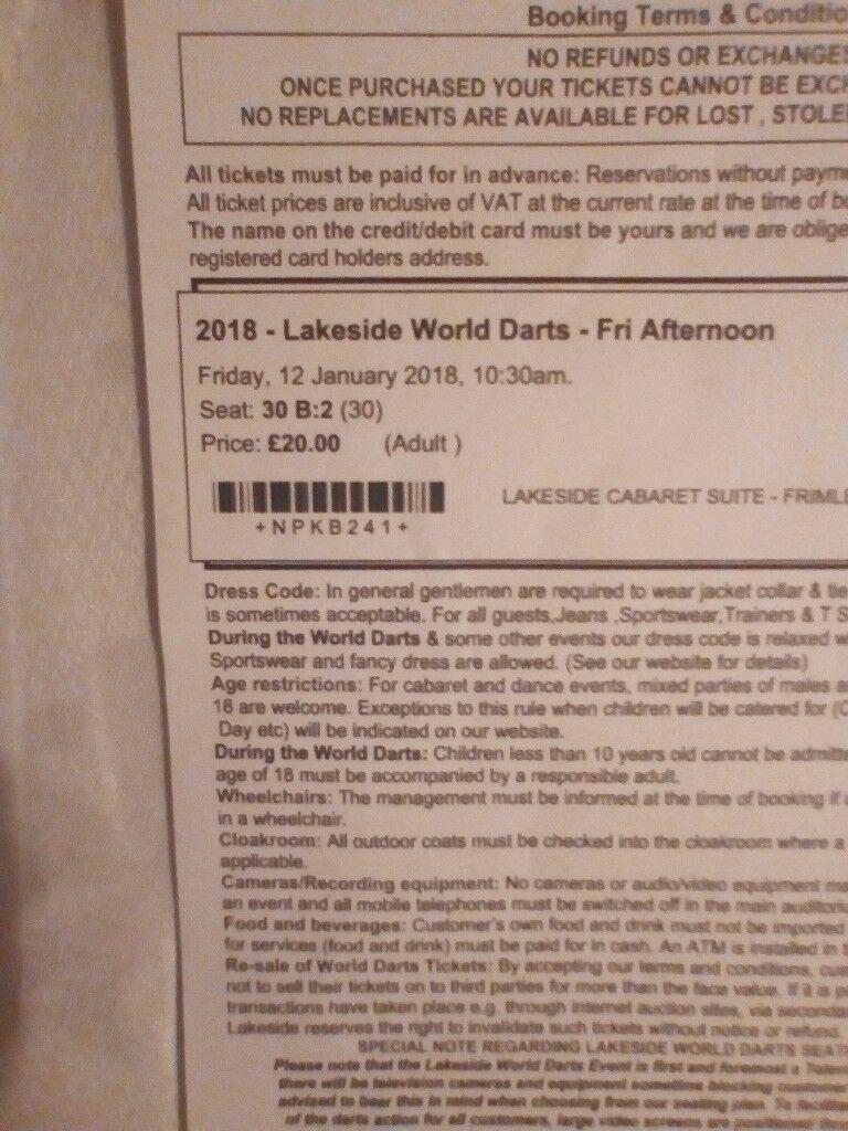 Lakeside darts tickets