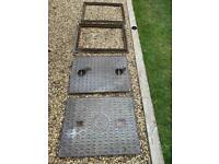 2 x Cast iron inspection drain covers and frames