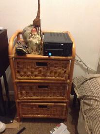 3 drawer wicker unit