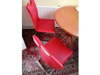 3 red leather Dining chairs
