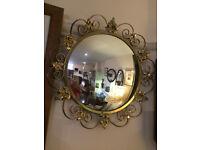 Striking Rare Antique Convex Glass Round Mirror with Ornate Gilt Frame