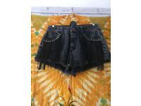 Black High Waist Denim Stud Tassel Shorts