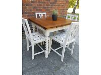 Vintage Farmhouse Lebus extending dining table + 4 chairs Shabby Chic. CONTACTLESS Local DELIVERY