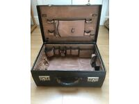 1930'S SUITCASE BLACK LEATHER FITTED VANITY CASE