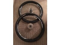 2x 29er STOUT MOUNTAIN BIKE WHEELS + TYRES. DISK BRAKE DISKS, 9-SPEED CASSETTE
