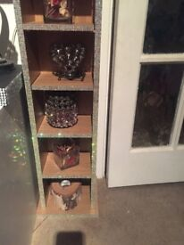 Cd rack tower hand decorated with individual crystal diamantes