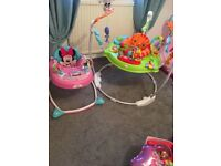 Fisher price rain forest jumperoo and Minnie Mouse baby walker £50 for both