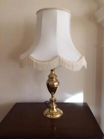 Brass effect table lamp and shade